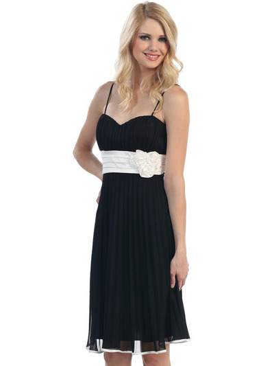 3727 Sweetheart Neckline Pleated Cocktail Dress - Black White, Front View Medium