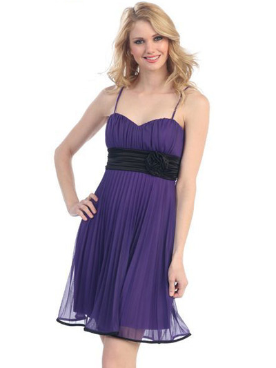 3727 Sweetheart Neckline Pleated Cocktail Dress - Purple Black, Front View Medium