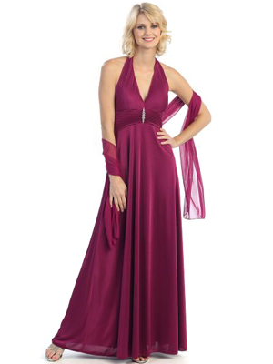 3731 Pleated Halter Evening Dress, Plum
