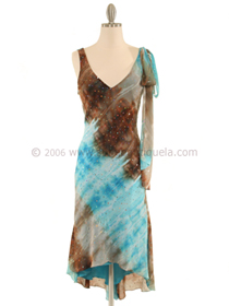 3749 Turquoise Abstract Printed Dress, Turquoise