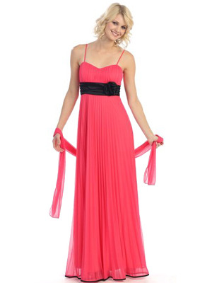 3750 Pleated Evening Dress, Coral Black