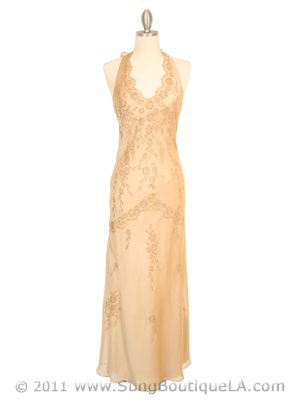 3762 Champagne Chiffon Halter Evening Dress, Champagne