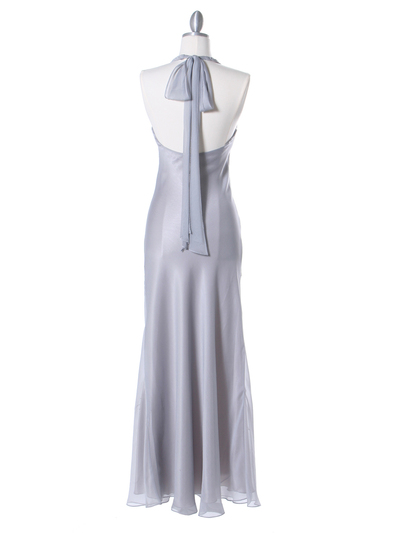 3762 Silver Chiffon Halter Evening Dress - Silver, Back View Medium