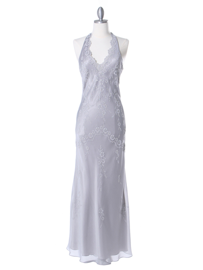 3762 Silver Chiffon Halter Evening Dress - Silver, Front View Medium