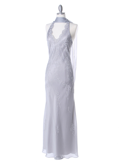 3762 Silver Chiffon Halter Evening Dress - Silver, Alt View Medium