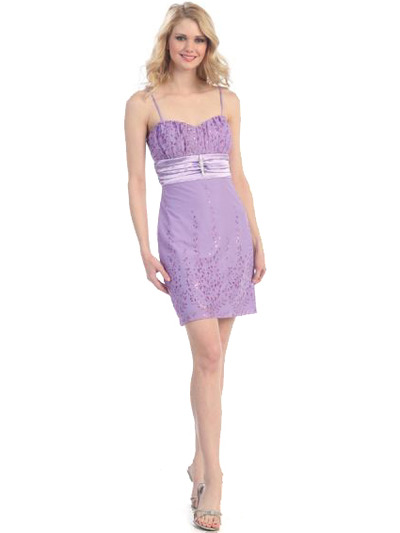 3764 Sweetheart Cocktail Dress - Lavender, Front View Medium