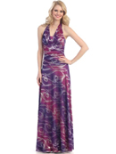 Print Halter Evening Dress