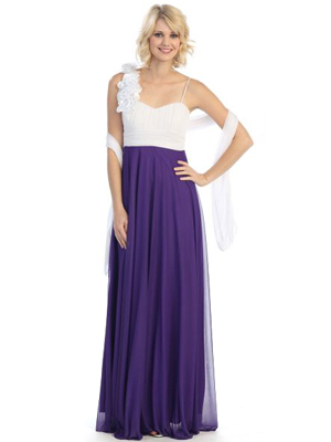 3784 Pleated Rosette Evening Dress, Purple White