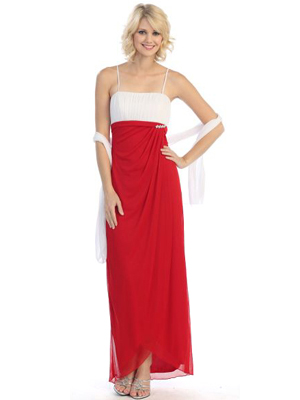3785 Pleated Evening Dress with Dazzling Pin, Red White