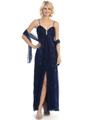 3799 Shimmer Sweetheart Evening Dress - Royal Blue Black, Front View Thumbnail