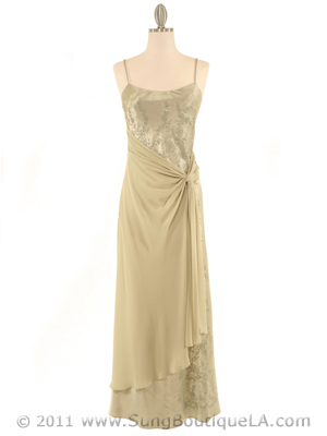3802 Olive Satin Evening Dress, Olive