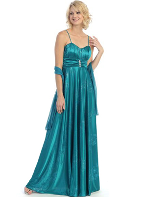 G3802 Pleated Glitter Evening Dress, Teal