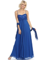 3807 Sequin Sweetheart Evening Dress - Royal Blue, Front View Thumbnail