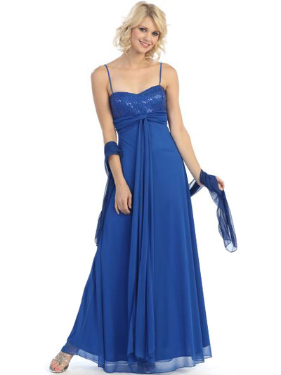 3807 Sequin Sweetheart Evening Dress - Royal Blue, Front View Medium