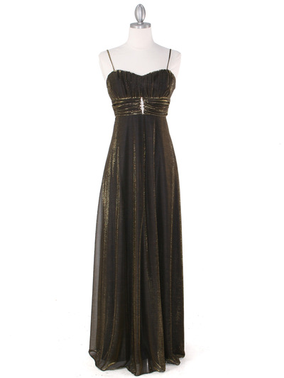 3808 Gold Shimmering Evening Dress - Gold, Front View Medium