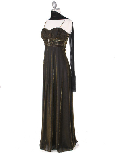 3808 Gold Shimmering Evening Dress - Gold, Alt View Medium