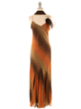 3842 Orange Mixed Evening Dress