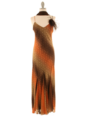 3842 Orange Mixed Evening Dress, Orange