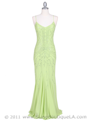 3844 Sassy Lime Color Evening Dress, Lime