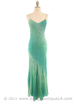 3845 Aqua Tie Dye Evening Dress, Aqua