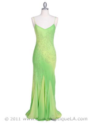 3845 Lime Tie Dye Evening Dress, Lime