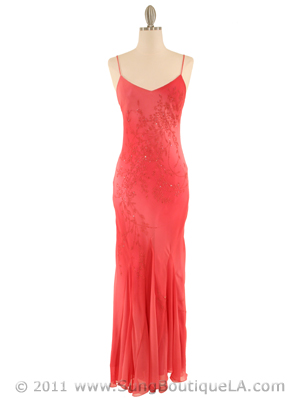 3845 Coral Tie Dye Evening Dress, Coral