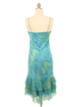 3866 Aqua Scarf Printed Cocktail Dress - Aqua, Back View Thumbnail