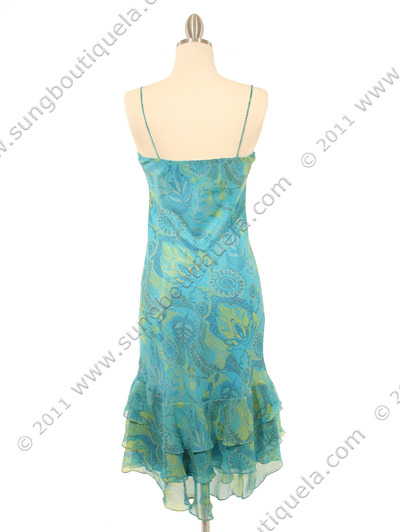 3866 Aqua Scarf Printed Cocktail Dress - Aqua, Back View Medium