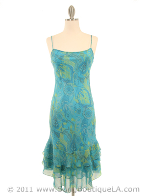 3866 Aqua Scarf Printed Cocktail Dress, Aqua