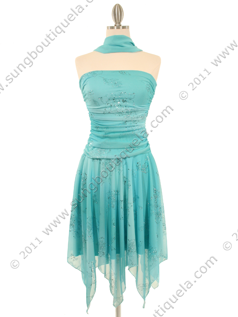 Aqua Glitter Party Dress | Sung Boutique L.A.