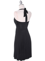 3929D Black Halter Pleated Dress with Rhinestone Buckle - Black, Back View Thumbnail
