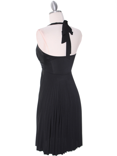 3929D Black Halter Pleated Dress with Rhinestone Buckle - Black, Back View Medium