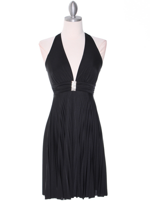 3929D Black Halter Pleated Dress with Rhinestone Buckle, Black
