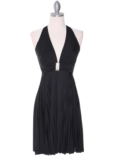 3929D Black Halter Pleated Dress with Rhinestone Buckle - Black, Front View Medium