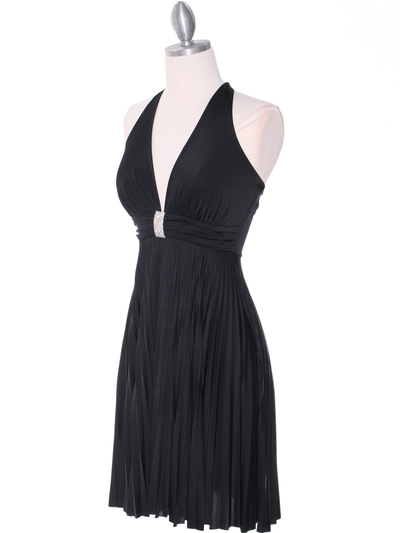 3929D Black Halter Pleated Dress with Rhinestone Buckle - Black, Alt View Medium