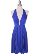 Blue Halter Pleated Dress with Rhinestone Buckle