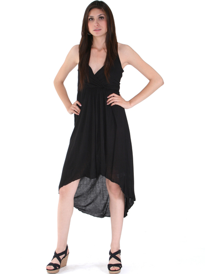 3952 High Low Tank Dress - Black, Front View Medium