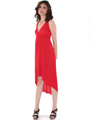 3952 High Low Tank Dress - Red, Front View Thumbnail