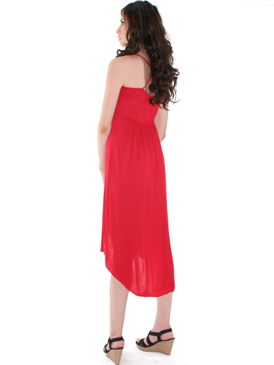 3952 High Low Tank Dress - Red, Back View Medium