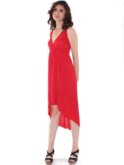 3952 High Low Tank Dress - Red, Front View Medium
