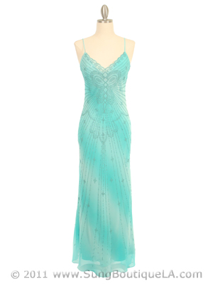 3959 Aqua Tie Dye Evening Dress, Aqua