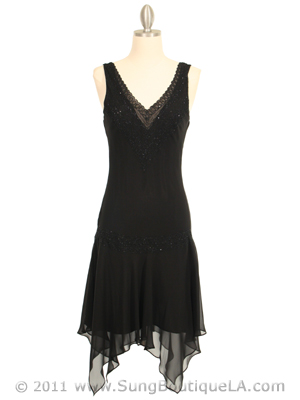 3971 Black 3/4 Length Beaded Cocktail Dress, Black