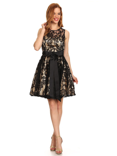 40-3076 Fit and Flare Lace Overlay Cocktail Dress - Black Gold, Front View Medium
