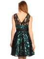 40-3076 Fit and Flare Lace Overlay Cocktail Dress - Black Mint, Back View Thumbnail