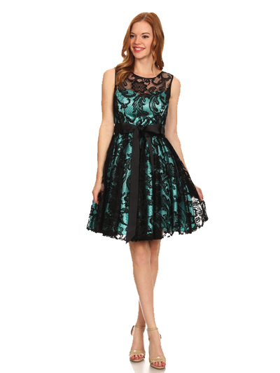 40-3076 Fit and Flare Lace Overlay Cocktail Dress - Black Mint, Front View Medium
