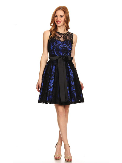 40-3076 Fit and Flare Lace Overlay Cocktail Dress - Black Royal, Front View Medium