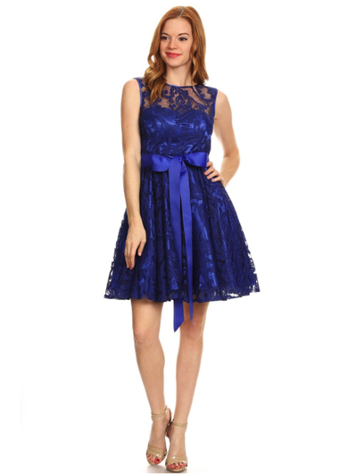 40-3076 Fit and Flare Lace Overlay Cocktail Dress - Royal Blue, Front View Medium