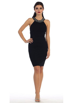 40-3117 Sleevelss Jersey Cocktail Dress, Black