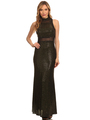 40-3180 Sequin Long Evening Dress - Black Gold, Front View Thumbnail