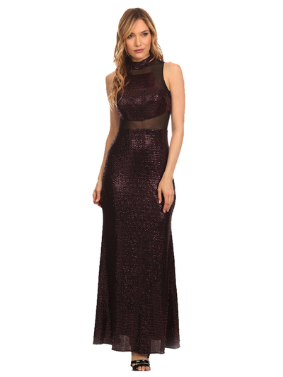 40-3180 Sequin Long Evening Dress - Black Red, Front View Medium